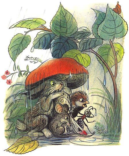 Сказка Под грибом в картинках 10