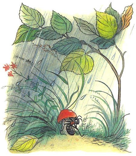 Сказка Под грибом в картинках 2