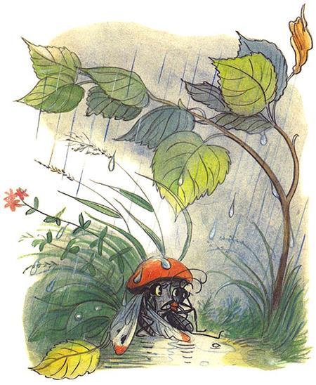 Сказка Под грибом в картинках 4