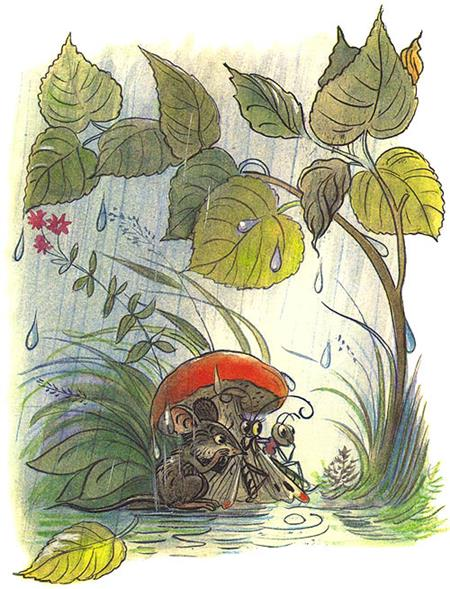 Сказка Под грибом в картинках 6