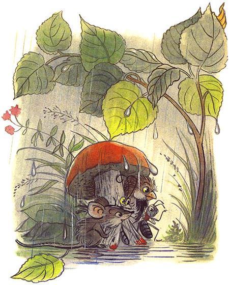 Сказка Под грибом в картинках 8