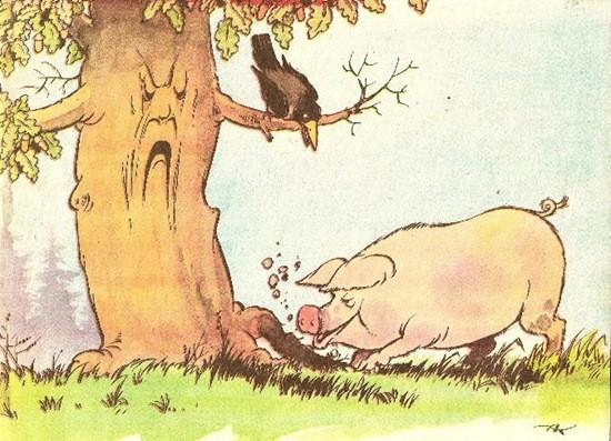 Картинки к басне свинья под дубом