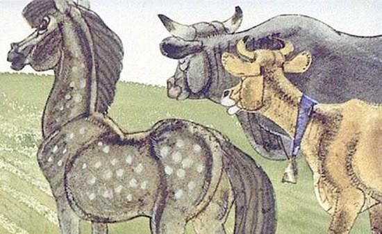 сказка Как конь с быком в запуски бегали картинка