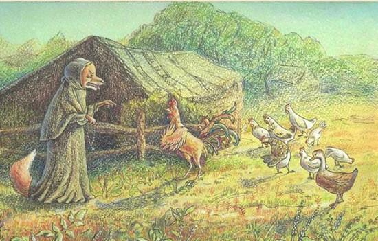 сказка Как лиса-монахиня петуха исповедовала картинка